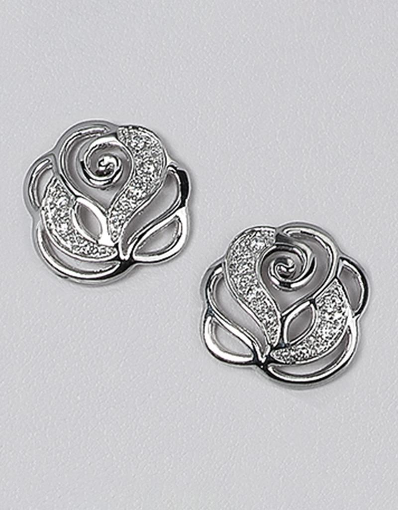 Sterling Silver Rose with Cubic Zirconia Post Earrings 17mm