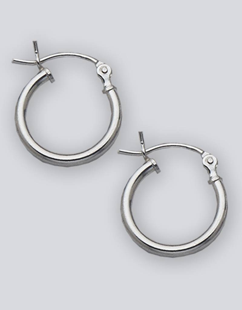 14mm Round Plain Hoop Earrings