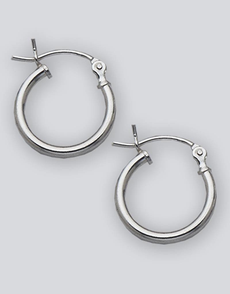 Sterling Silver Round Plain Hoop Earrings 14mm