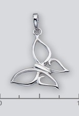 Sterling Silver Butterfly Pendant 22mm