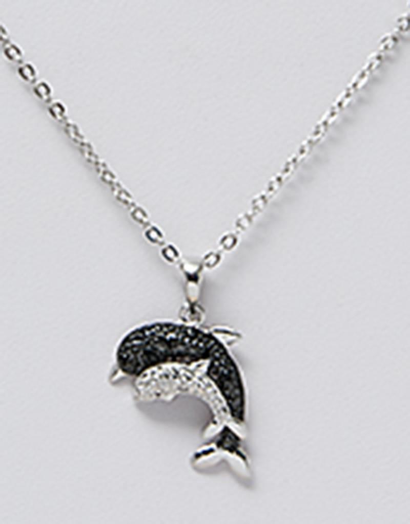 "Sterling Silver Dolphin Black & White Cubic Zirconia Necklace 16""+2"" Extender"