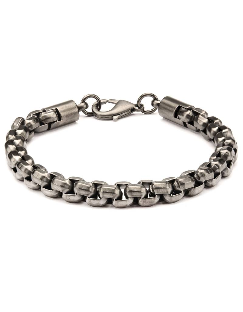 8mm Gunmetal Steel Box Bracelet 8.5""