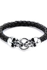 """Men's Stainless Steel Skull and Black Leather Bracelet 8.5"""""""