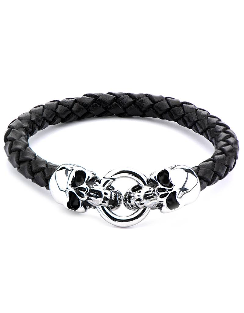 Steel Skull & Leather Bracelet 8.5""