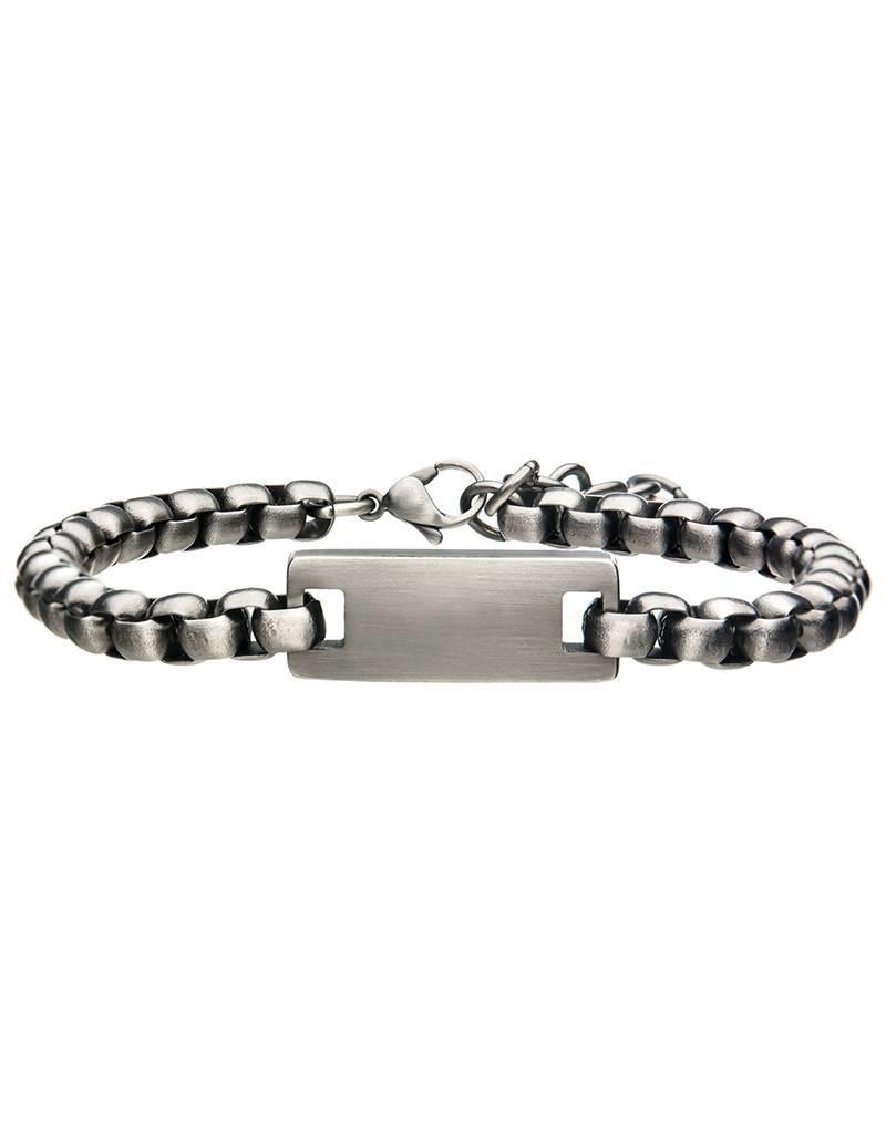 "Men's Antiqued Stainless Steel ID Bracelet 8"""