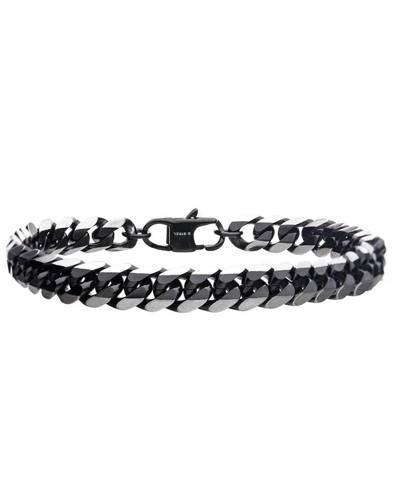 "Men's 8mm Black Stainless Steel Curb Chain Bracelet 8.5"""