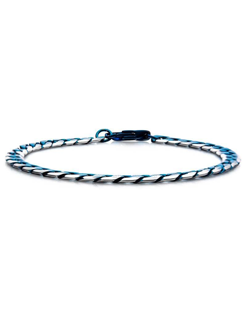 "Men's 6mm Diamond Cut Blue Stainless Steel Curb Chain Bracelet 8.5"""