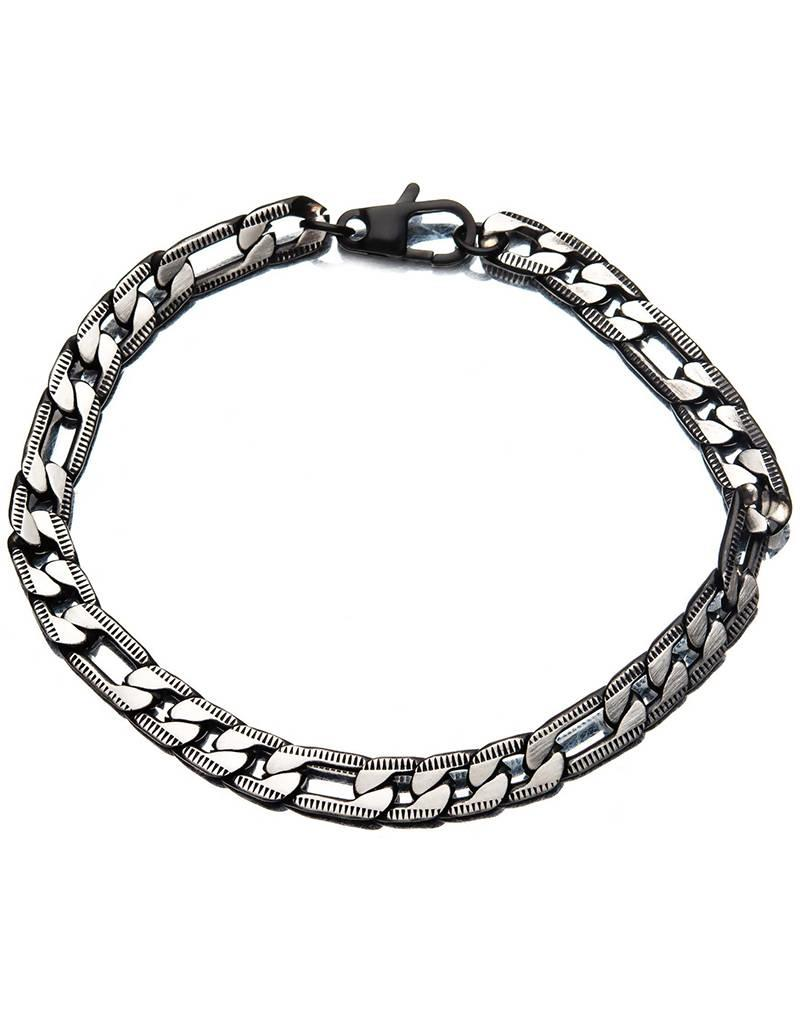 Men's Black Stainless Steel 6.5mm Diamond Cut Figaro Chain Bracelet 8.5""