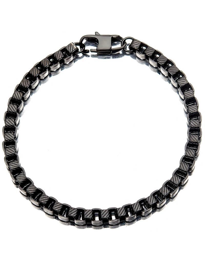Men's Stainless Steel 2-Tone 5.5mm Box Chain Bracelet 8.5""