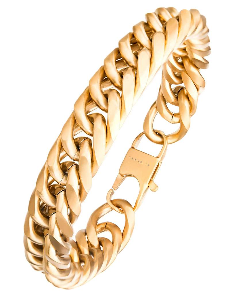 12mm Gold Cuban Bracelet 8.5""