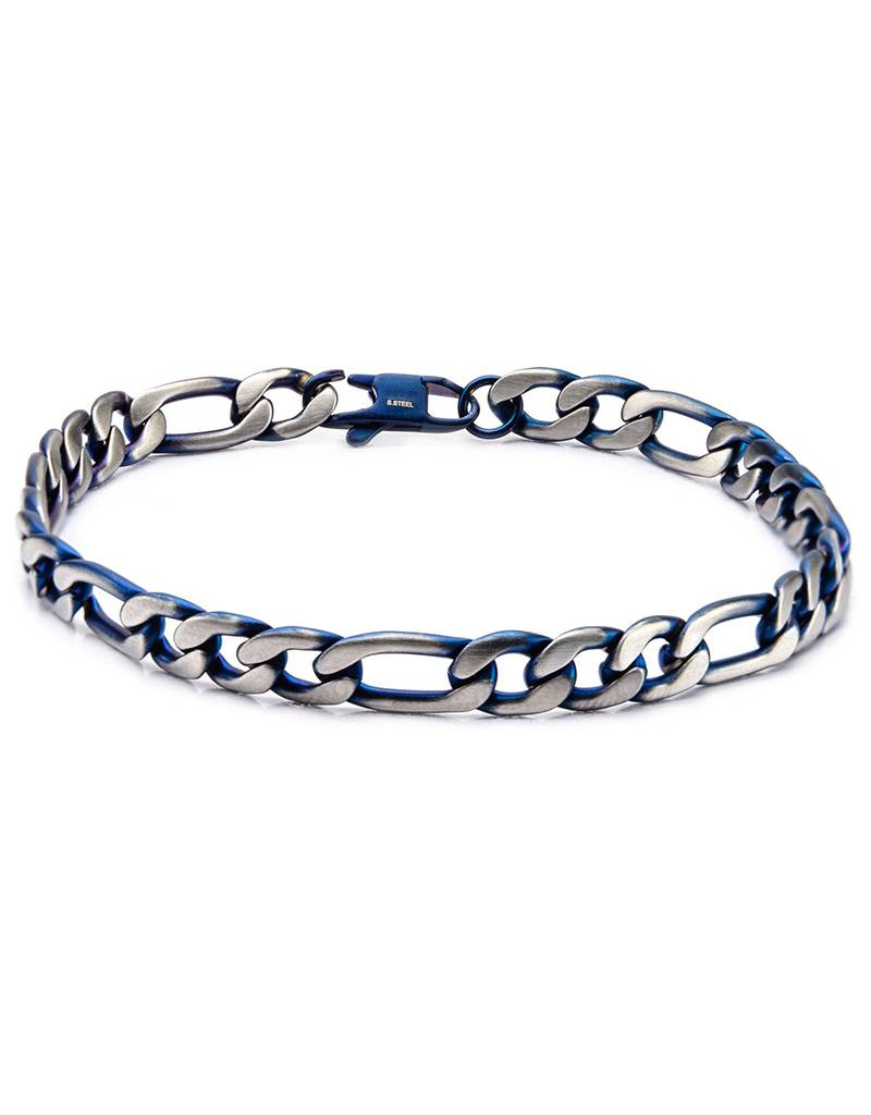 7mm Blue Steel Figaro Bracelet