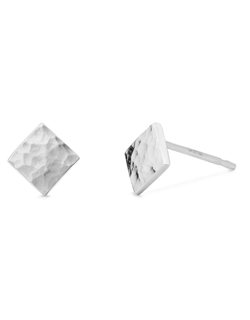 Square Hammered Stud Earrings 5mm