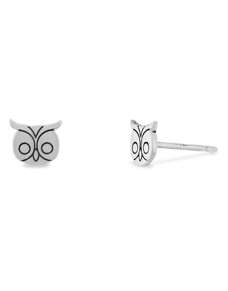 Sterling Silver Owl Stud Earrings 6mm