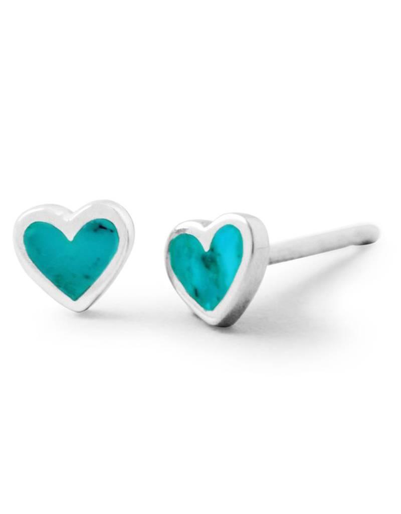 Heart Turquoise Stud Earrings 5mm