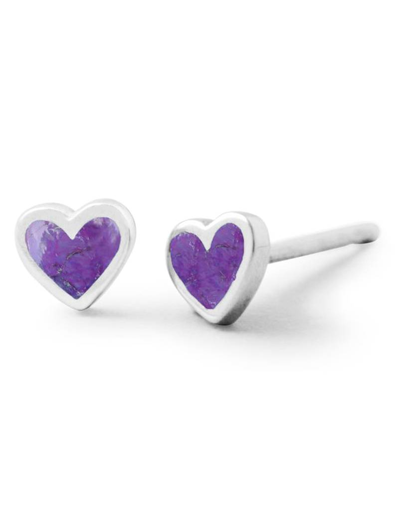 Heart Purple Stud Earrings 5mm