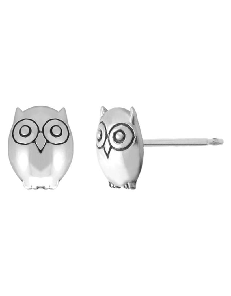Sterling Silver Owl Stud Earrings 7mm