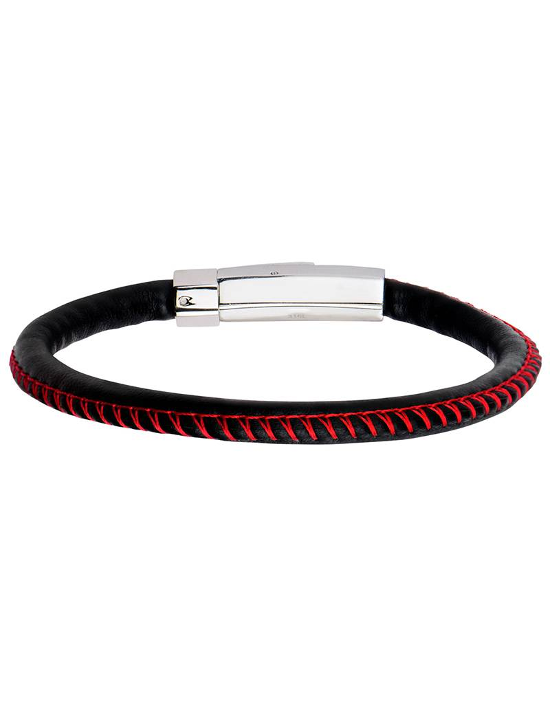 """Black Leather Red Stitch Bracelet 8"""""""
