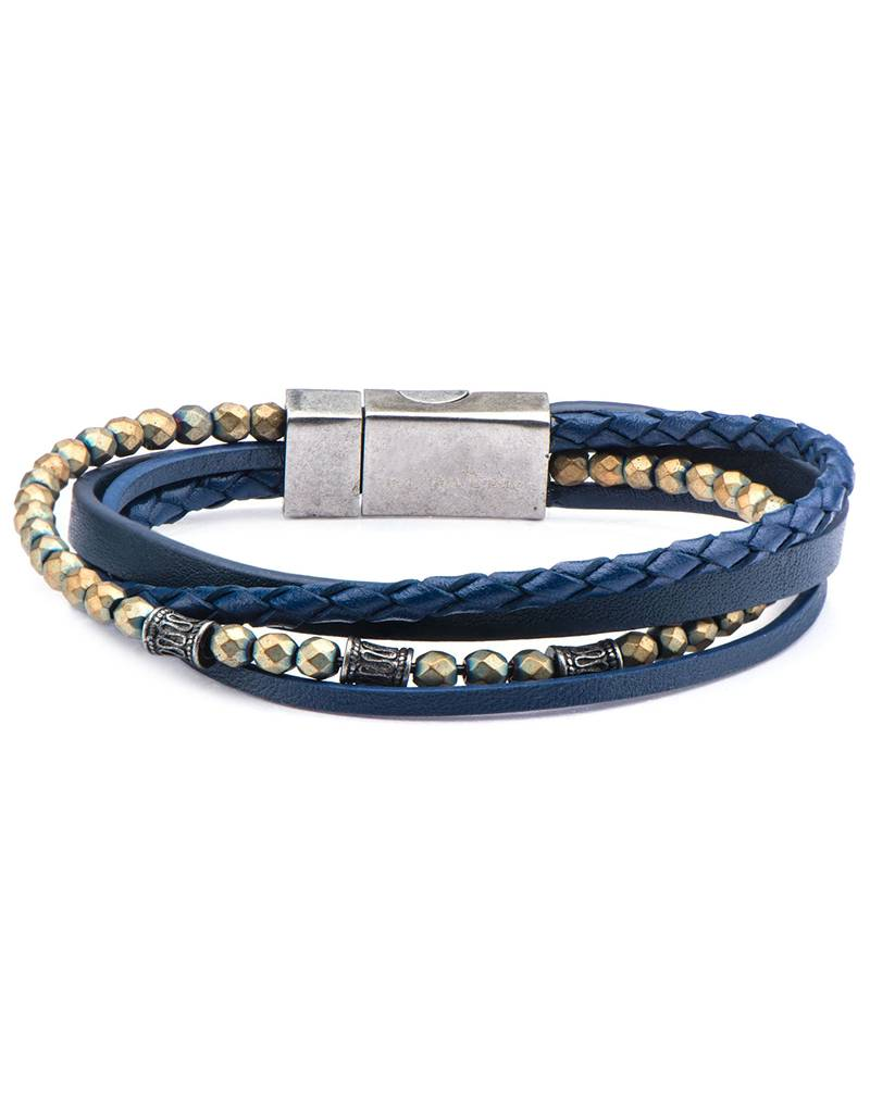Multi Strand Blue Leather Bracelet 8.25""