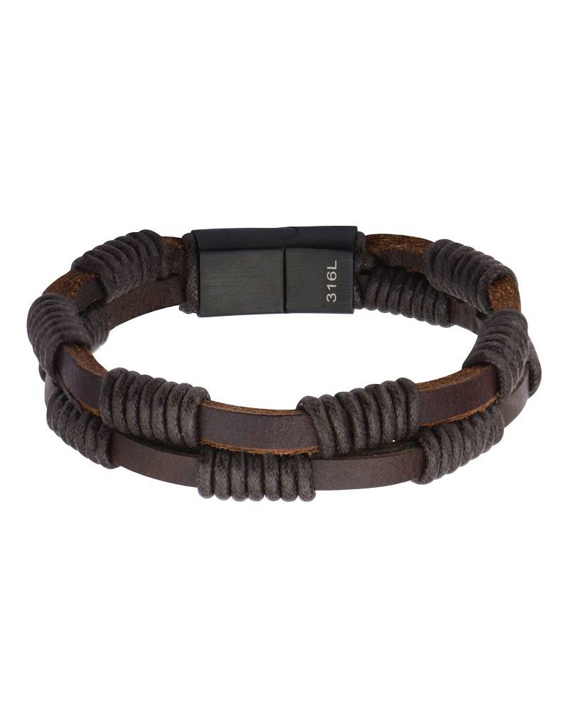 """Double Brown Leather Bracelet 8.25"""""""