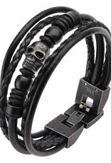 Men's Stainless Steel Multi Black Leather & Black Skull Beads Bracelet
