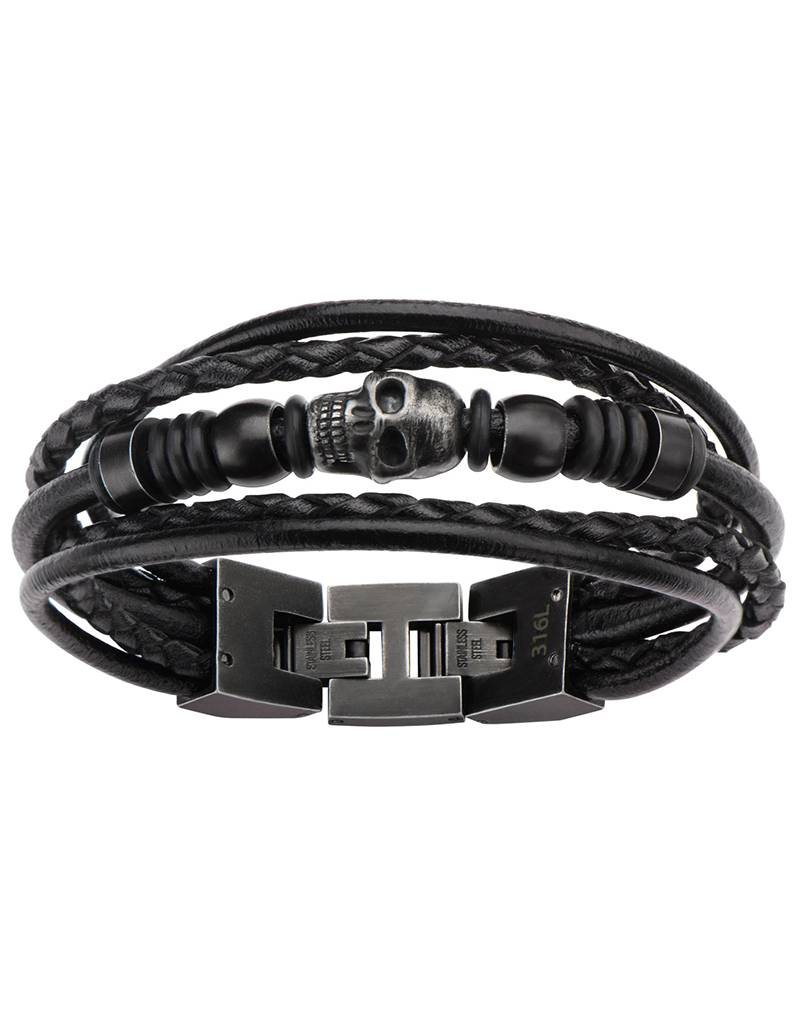 Black Leather Skull Bracelet 8.5""