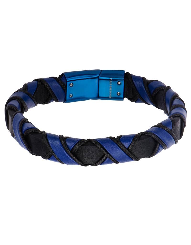 "Black & Blue Leather Bracelet 8.5"""