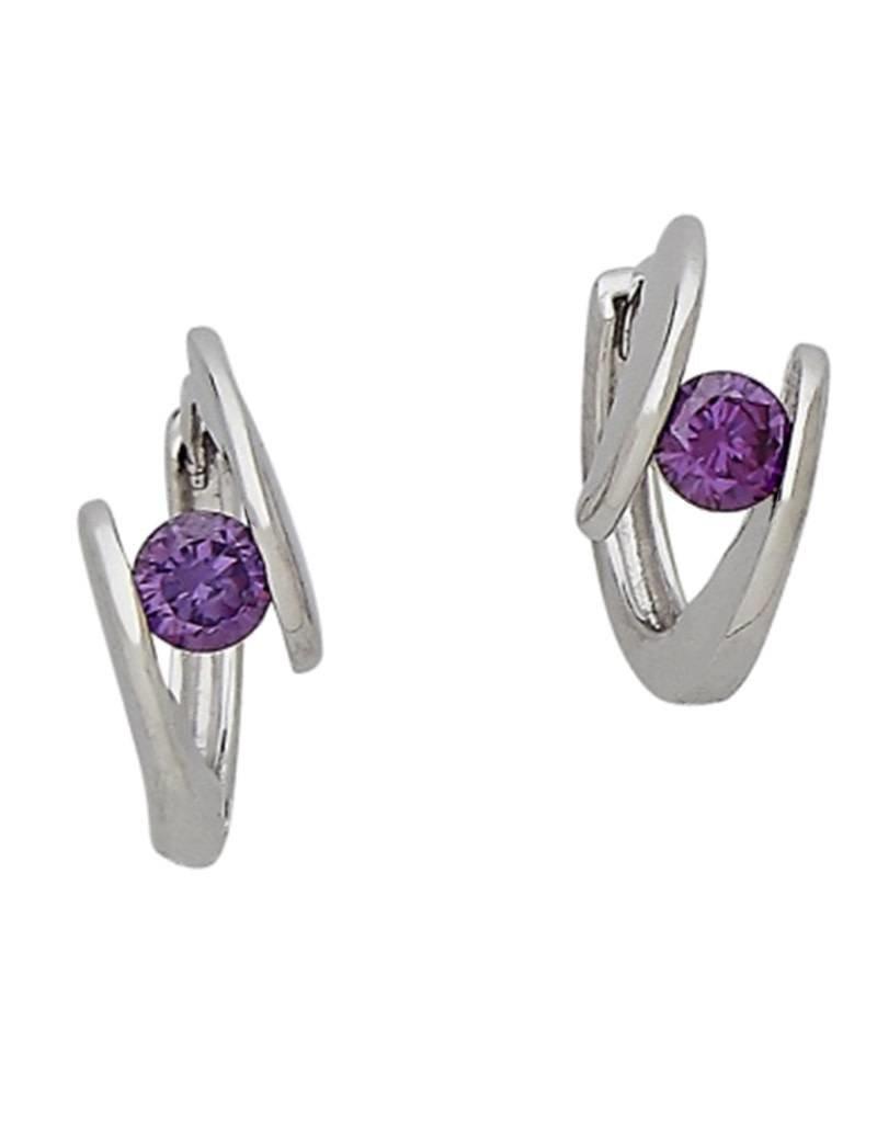 Sterling Silver Purple Cubic Zirconia Huggie Earrings 14mm