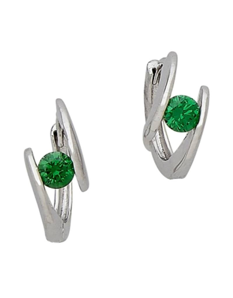 Emerald CZ Huggie Earrings 14mm