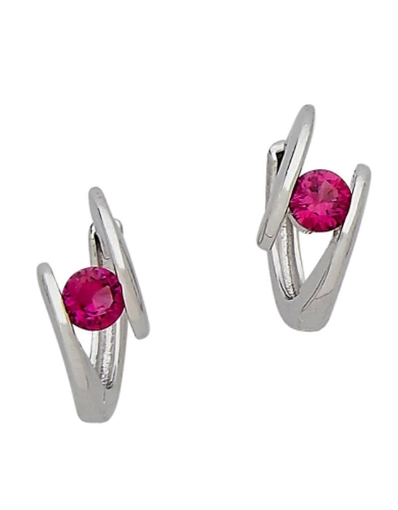 Red CZ Huggie Earrings 14mm