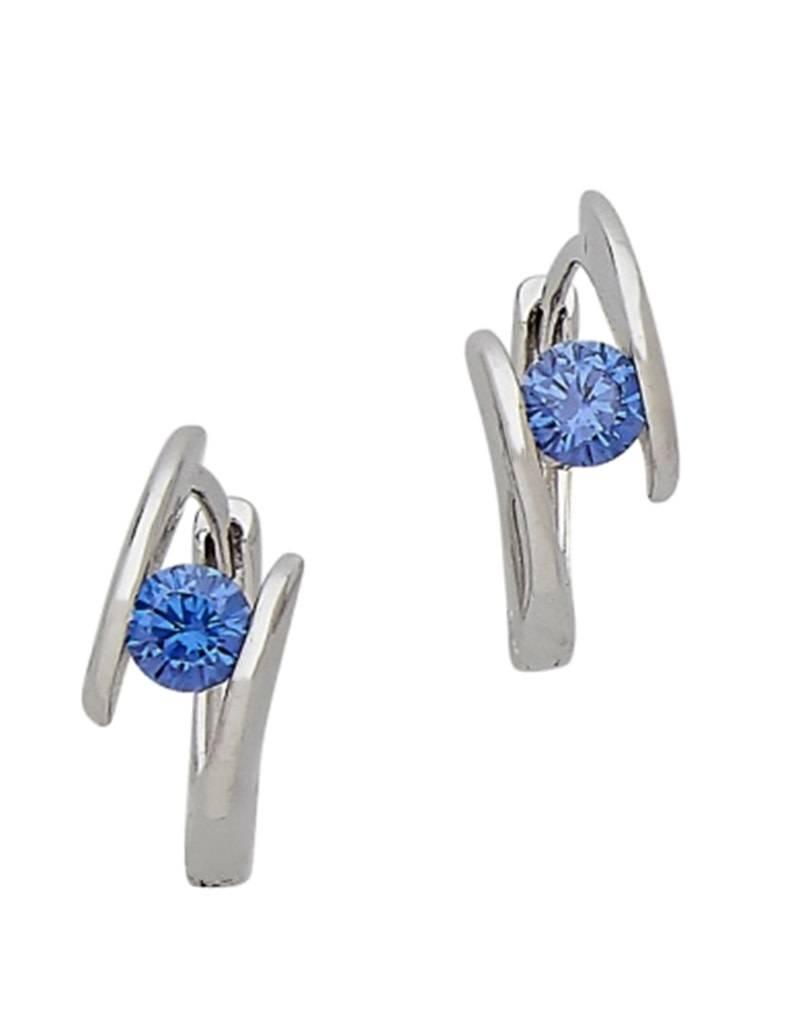 Blue CZ Huggie Earrings 14mm