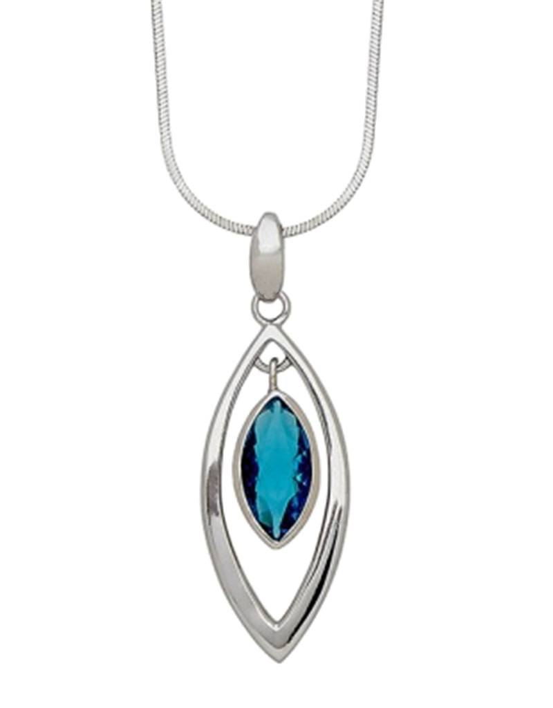 Marquise Blue CZ Necklace
