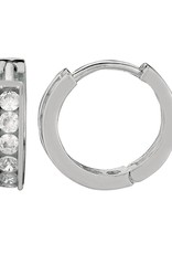 Sterling Silver Round Cubic Zirconia Huggie Earrings 13mm