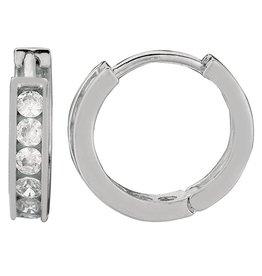 Round CZ Huggie Earrings 13mm