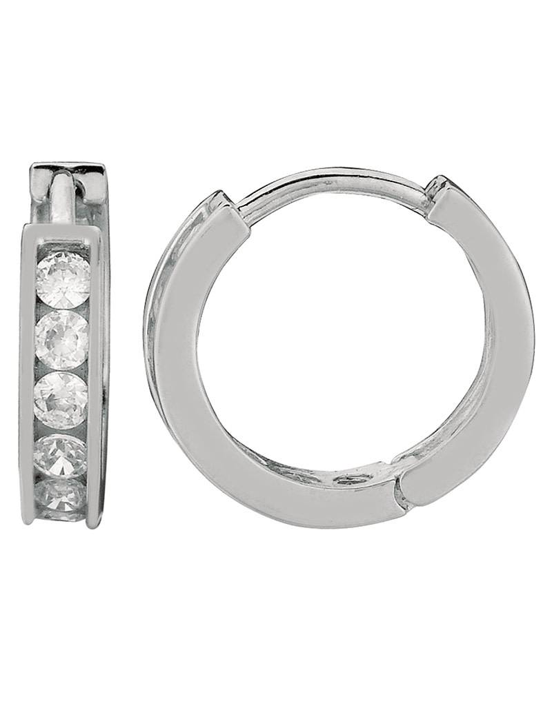 Round CZ Huggie Earrings 13mm