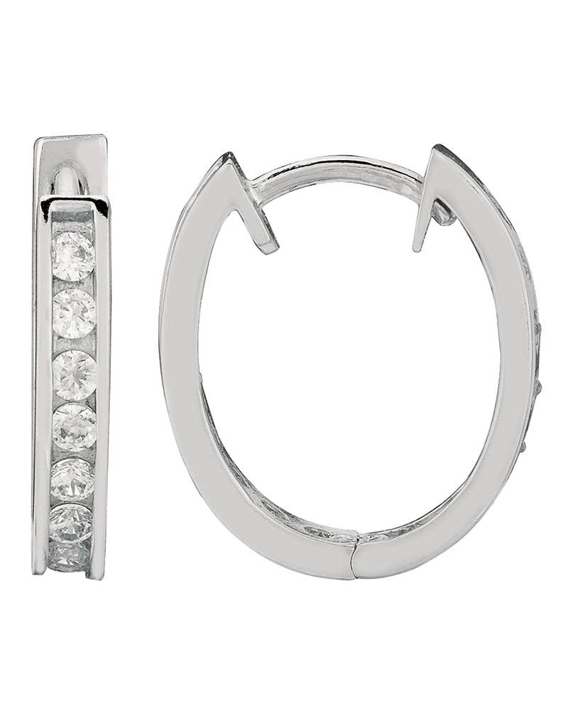 Oval CZ Huggie Earrings 17mm