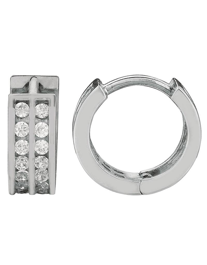 Double Row CZ Huggie Earrings