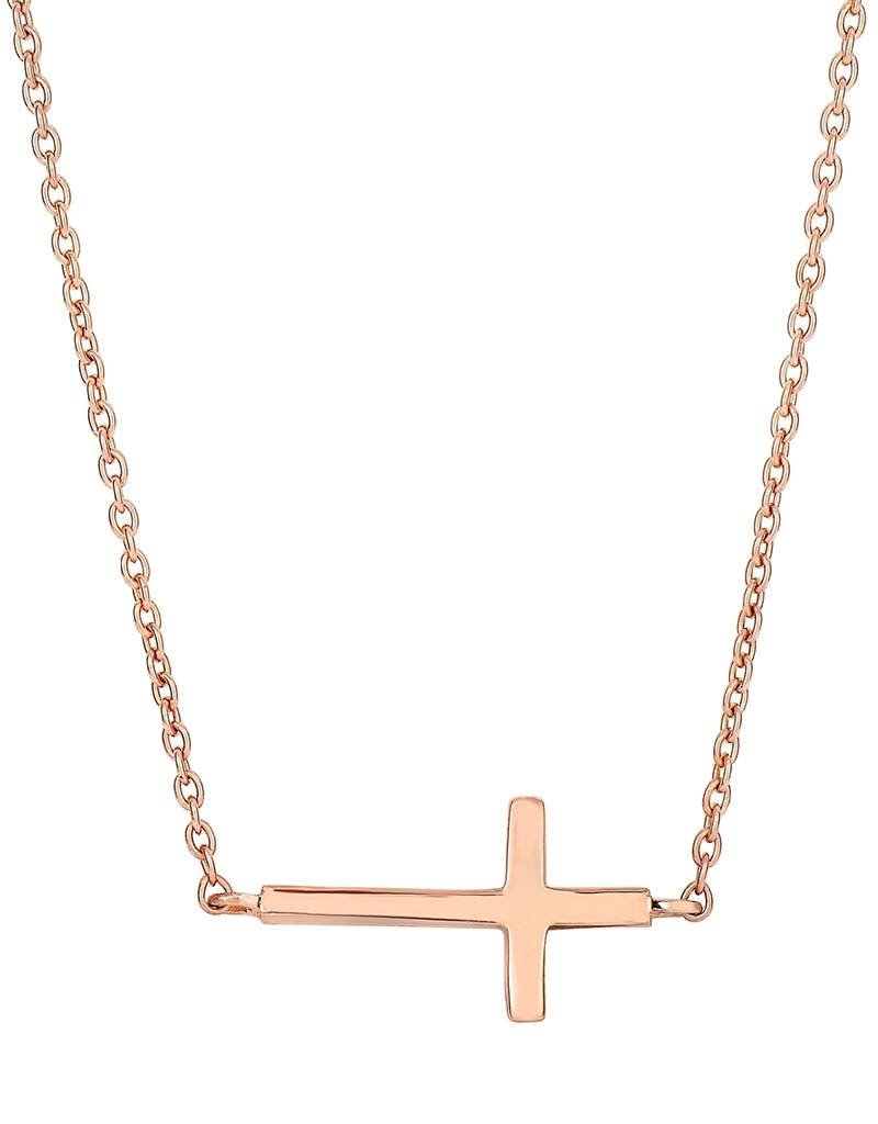 """Sterling Silver Sideways Cross Necklace with 14k Rose Gold Vermeil Finish 18"""""""