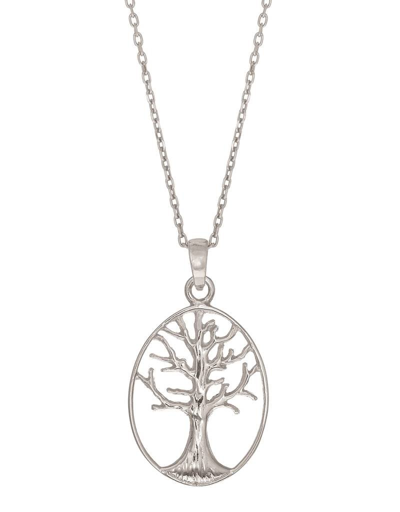 """Sterling Silver Oval Tree of Life Necklace 18"""""""