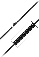 Stainless Steel 3.4mm Black Wheat Link Chain Necklace