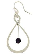 Sterling Silver Beaded Figure Eight Amethyst Earrings