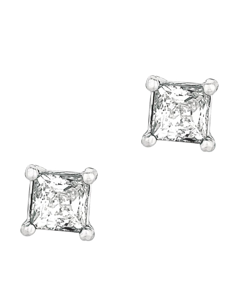Square CZ Stud Earrings 4mm