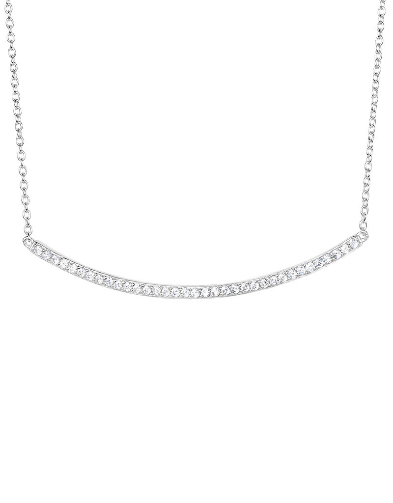 """Sterling Silver Curved Bar Cubic Zirconia Necklace 18"""""""