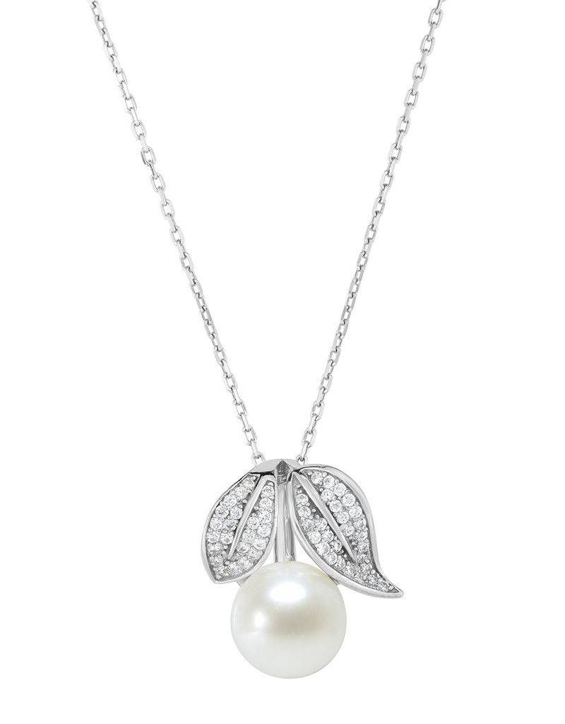 """Leaf CZ & Pearl Necklace 18"""""""