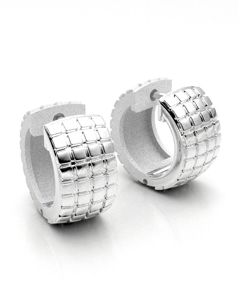 ZINA Cube Pattern Hinged Hoop Earrings