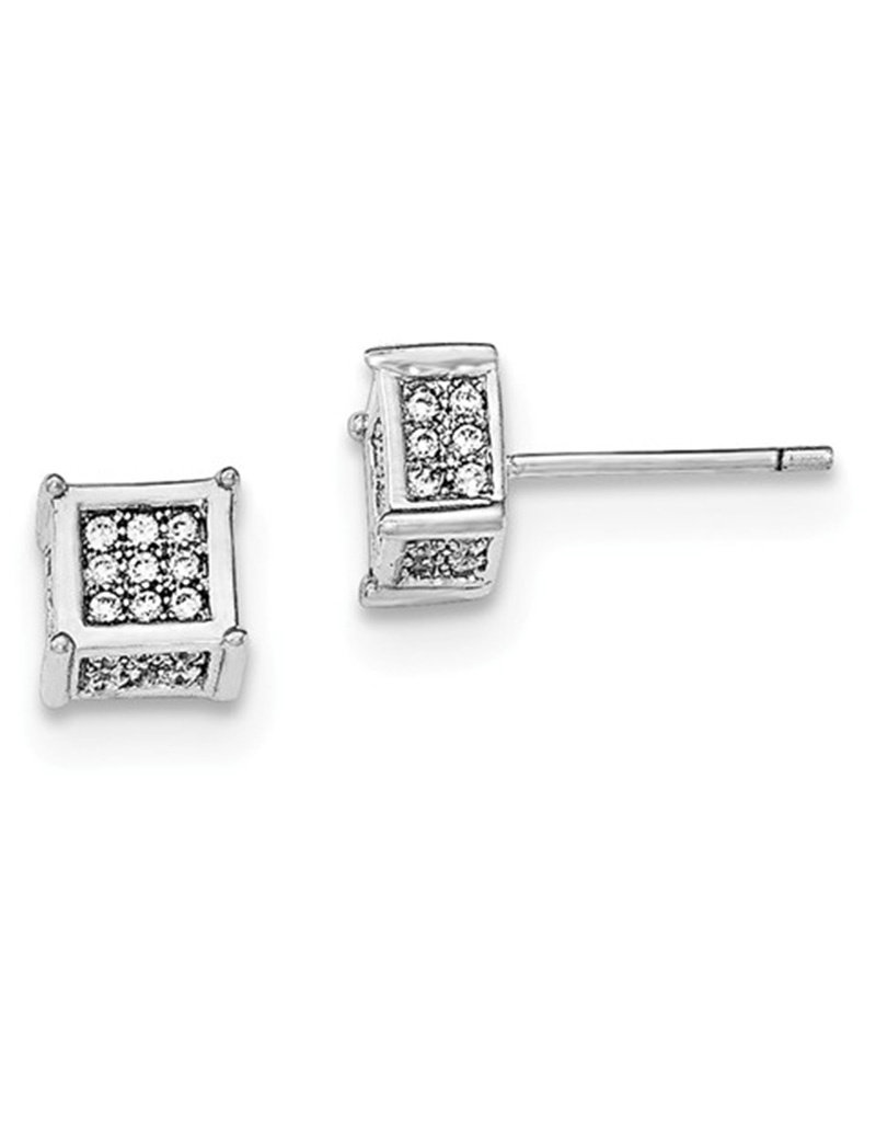 Sterling Silver Square Pave Cubic Zirconia Stud Earrings 5mm