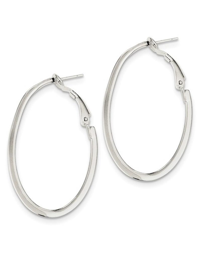 40mm Oval Omega Back Hoop Earrings