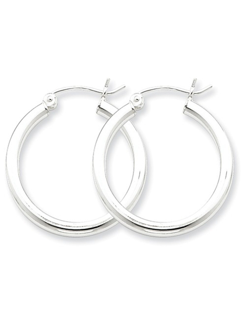 2.5mm Wide Hoop Earrings 25mm