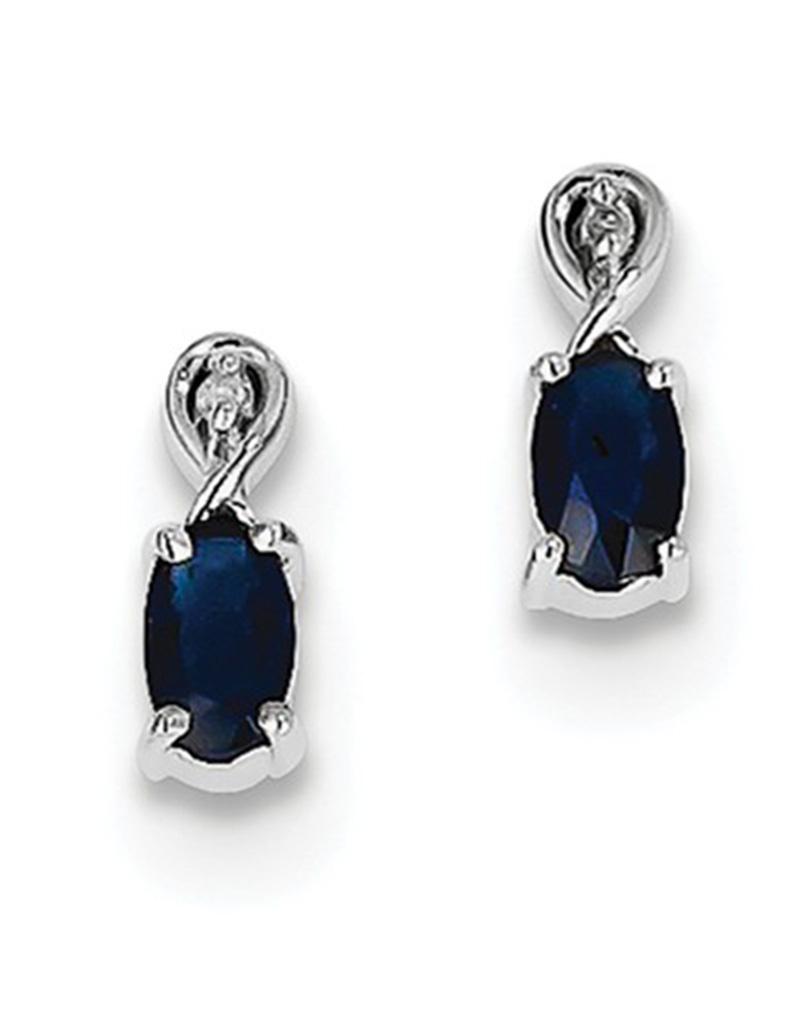 Sapphire & Diamond Earrings 9mm