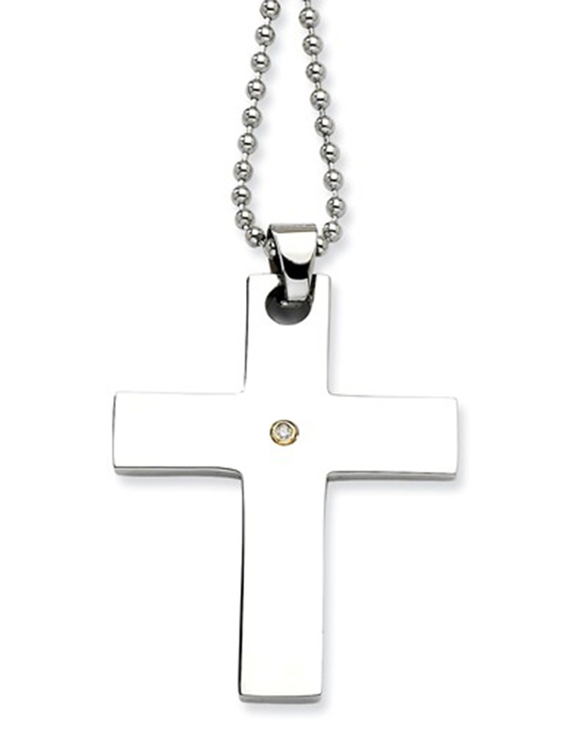 Steel Cross 14k Diamond Necklace 22""