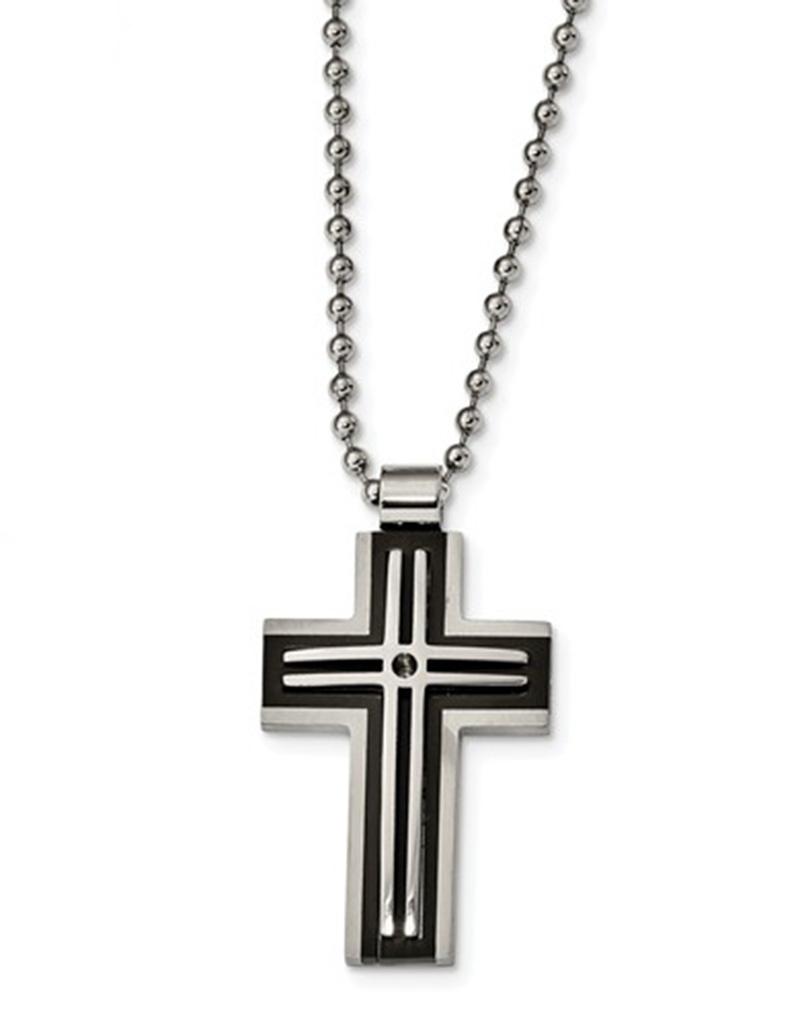 "Black Steel Cross Necklace 22"""